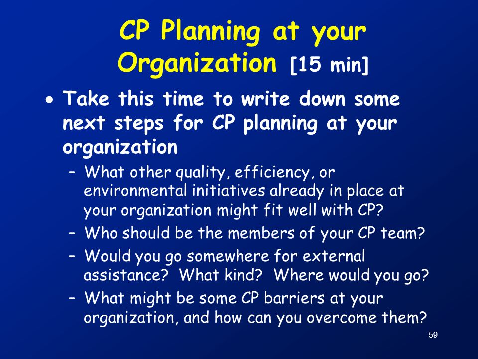 CP Planning at your Organization [15 min]